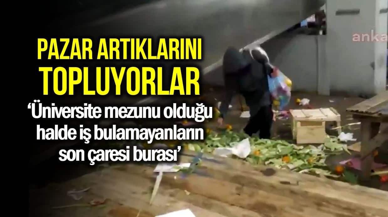Türkiye gerçeği: Vatandaş pazar bitince ezilmiş artıkları topluyor!