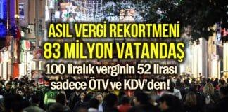 Asıl vergi rekortmeni 100 TL verginin 52 TL'sini ödeyen 83 milyon!