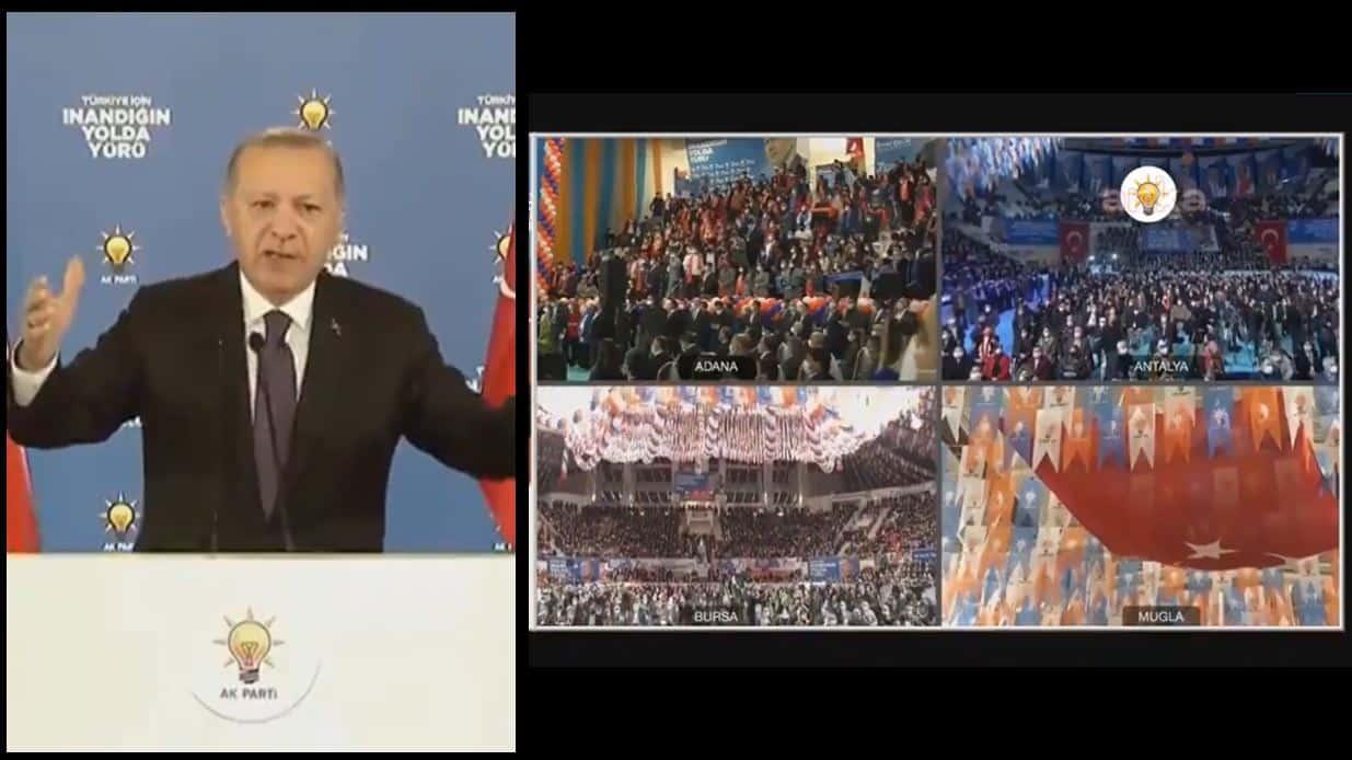Erdoğan: Salgına rağmen şu kapalı salonlarda tıklım tıklım buluşma sağladığınız için teşekkür ediyorum