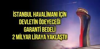 İstanbul Havalimanı 2020 yılı garanti bedeli