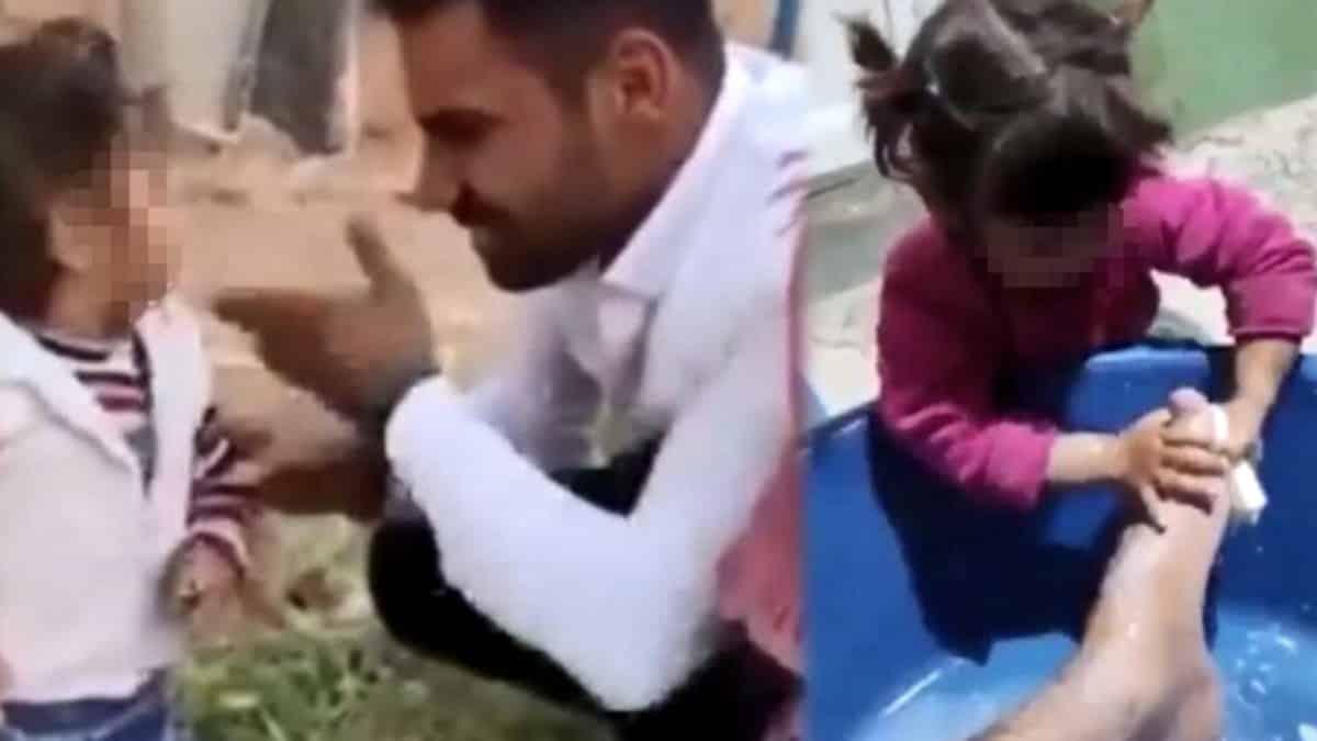 Tepki çeken görüntüler: Küçük kızı tokatladı, ayağını yıkattı, sigara içirdi