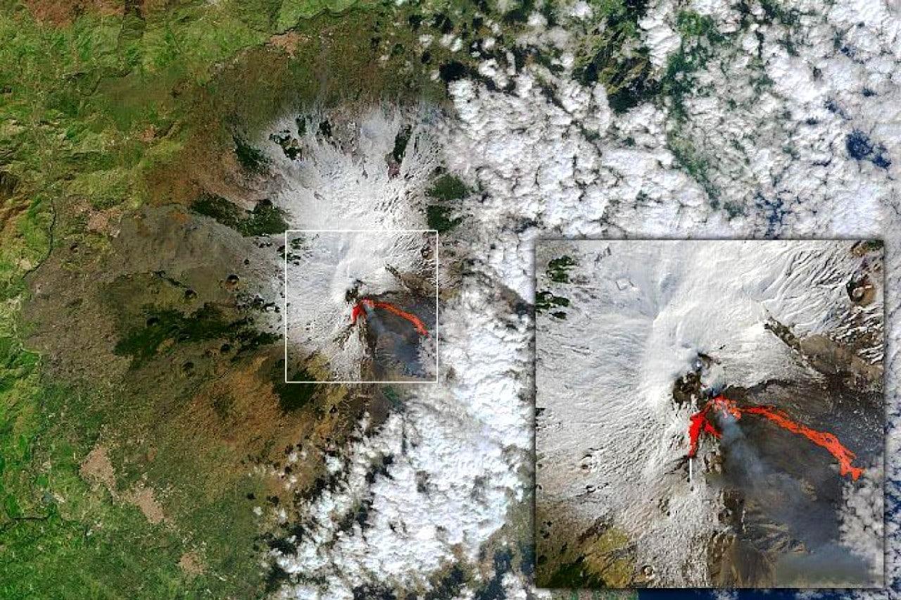 NASA ve ESA uyduları, Etna Yanardağı