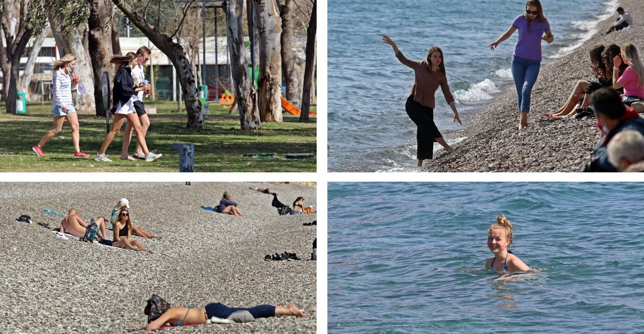 Sokağa çıkma yasağından muaf turistlerin deniz keyfi